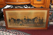 Antique Charles Hunt Painting Print On Canvas-Flying Dutchman Horse Race Paris