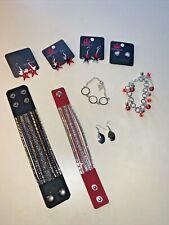 Paparazzi Bling ZI Bracelets USA Stars & Stripes Earring LOT Of 9 & J CREW ❤️tb