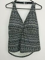 Womens Tropical Escape Swimsuit Top Plus Size 24W Black White Design Halter Neck