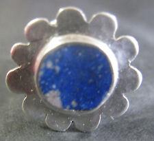 Antique Argent Grande Stud Button Set avec lapis lazuli