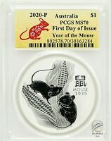 2020-P $1 Australia Year of the Mouse 1 oz Silver Coin PCGS MS70 First Day ISSUE