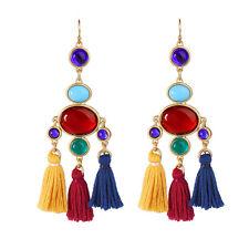 Boucles d`Oreilles Doré Chandelier Pompon Multicolore Rouge Bleu Jaune Vert XX19