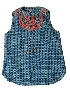 J.Crew sleeveless shirt with embroidery blue womens size 4