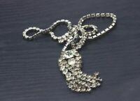 "Authentic Vintage 1950's Silver Tone Bib Fringe Rhinestone Necklace 22"" b30"