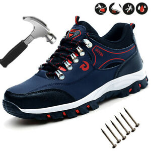 Mens Womens Safety Shoes Trainers Steel Toe Hiking Breathable Sports Boots UK 12