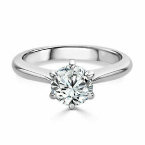 Solitaire 2.00 Ct Diamond Engagement Wedding 14K Solid White Gold Rings Size 6 7
