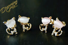 Cute Little Rose Gold Plated Rhinestone White/Pink Opal Stone Cat Stud Earrings