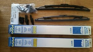 """CLASSIC MINI WIPAC 11"""" BLACK WIPER BLADE FOR THE HOOKED TYPE ARM - PAIR"""