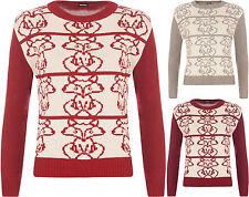 Geometrische Langarm Damen-Pullover