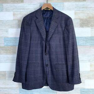 Canali Kei Wool Sport Coat Purple Plaid Check 2 Button Lightweight Mens 50 40US