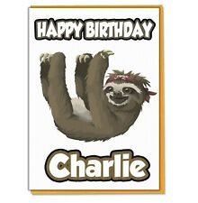 Personalised Sloth Birthday Card Daughter Son Husband Wife Mum Dad Friend Kids