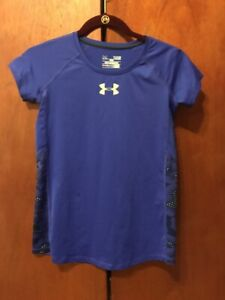 Under Armour Heat Gear Top . Purple with yellow accent. YOUTH YLG