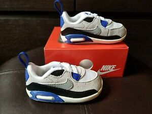 NIKE Max 90 Crib (CB) Baby Shoes White/Grey/Blue (CI0424-103)
