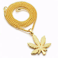 Gold Plated Weed Cannabis Maple Leaf Necklace Pendant Jewellery Hip Hop Gift Bag