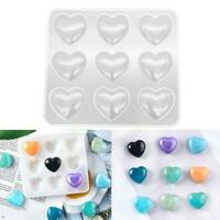 9-Cavity Silicone Heart Mold - DIY resin heart mould-Crystal Epoxy Mould