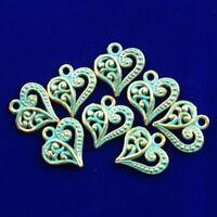 13x13x2mm 15Pcs New Carved Brass Bronze Heart Pendant Bead  NN393