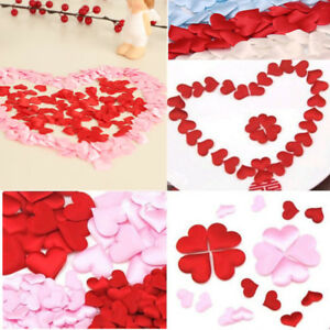 100Pcs Satin Padded  Fabric Love Heart Throwing Petals Wedding Table Decor Craft