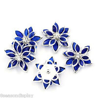 10PCs Flower Embellishment Findings Rhinestone Flatback Royalblue 23mmx24mm