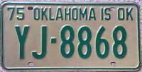 GENUINE 1975 American OKLAHOMA IS OK License Licence Number Plate  Tag YJ-8868