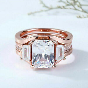 14K Rose Gold Finish 4.00Ct Emerald Cut VVS1 Diamond Bridal Set Engagement Ring