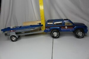 RARE 1989 Nylint Blue 4X4 Bass Runner Metal Muscle Trailer and Boat