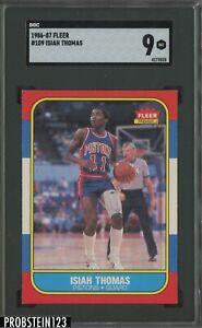 1986 Fleer Basketball #109 Isiah Thomas Pistons RC Rookie HOF SGC 9 MINT