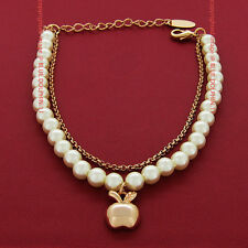 Real Solid 18k Rose Gold GF Bolt Ring Chain Clasp Padlock Bracelet Bangle