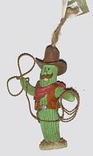 "Cactus Cowboy with Metal Rope - Ceramic 4.5"" Tall - Handcrafted Ornament New!"