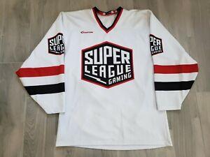 Easton Super League Gaming White Hockey Jersey Shirt  Mens M Video Games Gear