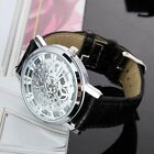 Fashion Mens Roman Dial Skeleton Steampunk Mechanical Leather Sport Wrist Watch