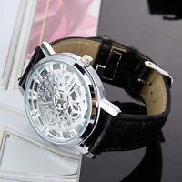 Fashion Mens Dial Skeleton Steampunk Mechanical Leather Sport Wrist Watch Gift