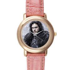 Jon Snow Game of Thrones Wrist Watch Pink Leather for Women Kit Harington