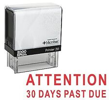ATTENTION 30 DAYS PAST DUE Office Self Inking Rubber Stamp - Red Ink (E-521
