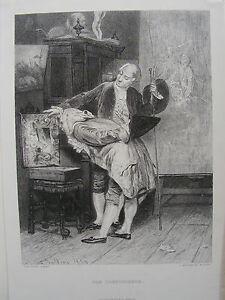 KUNSTKENNER  betrachet AKTGEMÄLDE  Stahlstich 1878
