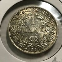 GERMANY 1915-A SILVER ONE MARK BRILLIANT UNCIRCULATED
