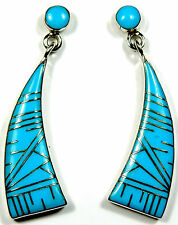 """Blue Turquoise Inlay 925 Sterling Silver Post Earrings - 1-1/2"""" Long"""