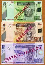 SPECIMEN SET, Congo D. R., 1000;5000;10000 Francs, 2005-2006 (2012) P-New UNC