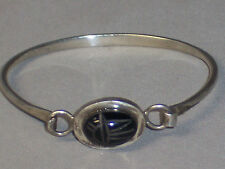 STERLING SILVER BLACK ONYX SCARAB BANGLE BRACELET HOOK CLASP CONVERTIBLE TYPE