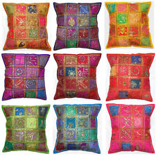 "Zip Decorative Cushion Cover 24x24"" Indian Colourful Sari Patch Moroccan 60x60cm"