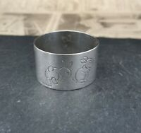 vintage silver plated child's napkin ring, napkin holder.
