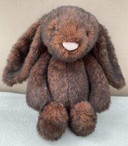 Jellycat Medium Bashful Walnut Bunny Rabbit Soft Toy Comforter Baby Dark Brown