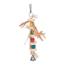 Great Parrot Bird Chew Wooden Straw With Bell Cage Swing Toys Accessory 32cm EB