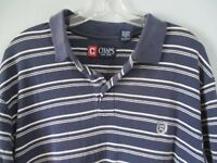 Chaps Men's Size Large Short Sleeve 100% Cotton Striped Polo Shirt