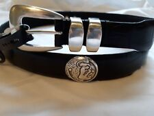 Men's Black Genuine Leather Belt with Florida State University Conchos 34 R