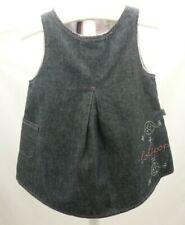Lolipop robe jean bleu doublé tissu rose motifs brodés bébé fille 6 mois