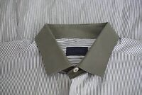 Lanvin Contrast Collar Gray White Striped Spread Collar Dress Shirt Sz 17