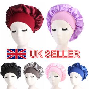 UK Long Hair Care Women Satin Bonnet Sleep Hat Cap Night Silk feel Cap Head Wrap