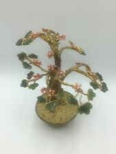 Vintage Swoboda Bonsai Tree Sculpture Carved Jade Gemstone Pink Rock Gold Plate