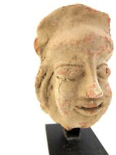 Antique authentic ancient India clay head statue on stand