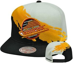 NHL Vancouver Canucks Mitchell & Ness Adult Adjustable Paintbrush Cap Hat M&N